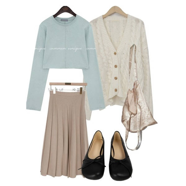 From Beginning Cable loose button cardigan_A (size : free),MIXXMIX 네모난 리본 플랫,square101 커버 플리츠 스커트 (3color)등을 매치한 코디