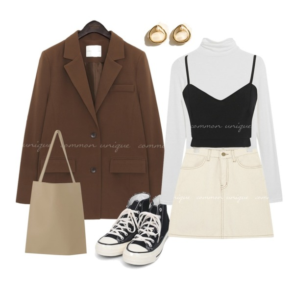 AIN colouring high canvas sneakers (225-250),MIXXMIX 보들 텐셀 폴라 티셔츠,common unique PARISIENNE TAILORED JACKETWITH CELEBRITY _ 조이 착용등을 매치한 코디