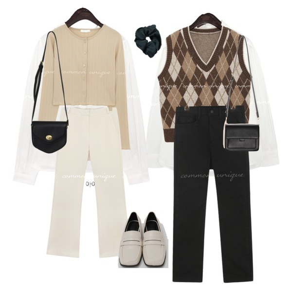 From Beginning Broad square toe loafer_C (size : 225,230,235,240,245,250),From Beginning Marang satin hair band_C (size : one),From Beginning Pent mini cross bag_A (size : one)등을 매치한 코디