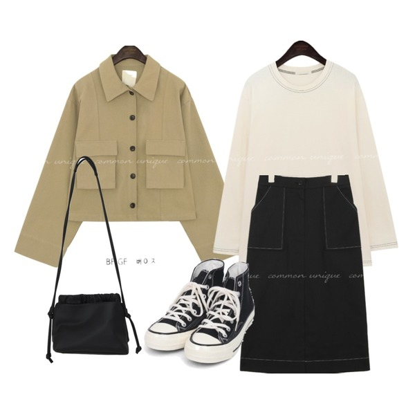 AIN colouring high canvas sneakers (225-250),From Beginning Shirring strap two-way bag_J (size : one),common unique MONTID STITCH POINT COTTON T등을 매치한 코디