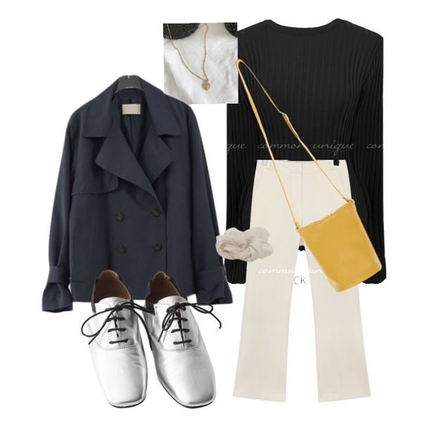 lavenir (made lavenir) lace love necklace,AFTERMONDAY strap banding middle loafer (2colors),From Beginning Satin bold hair string_Y (size : one)등을 매치한 코디