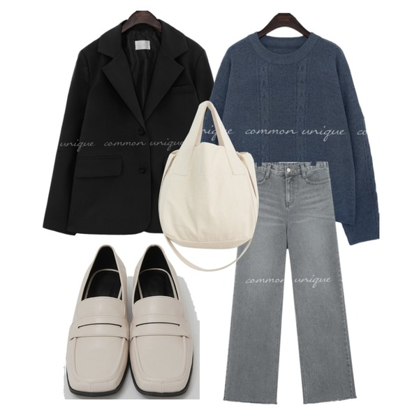 From Beginning Broad square toe loafer_C (size : 225,230,235,240,245,250),WONLOG 내추럴 에코 백,common unique BANDING WIDE LONG DENIM PANTS등을 매치한 코디