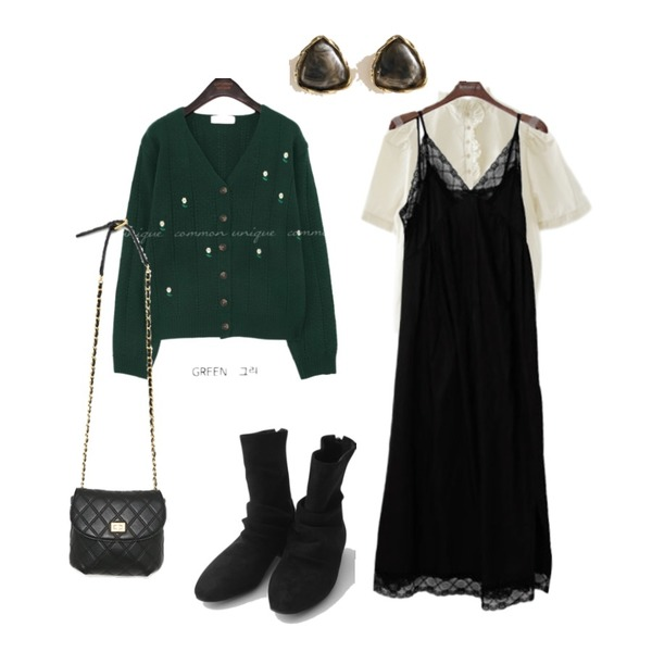 binary01 레이스 슬리브리스원피스,AFTERMONDAY rough suede ankle boots (4colors),AIN lovely quilting chain shoulder bag등을 매치한 코디