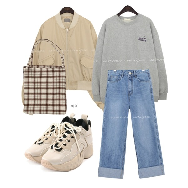 ROCOSIX bold daily sneakers,From Beginning Munds check cotton bag_J (size : one),common unique LOIPE ROLL UP WIDE DENIM PANTS등을 매치한 코디