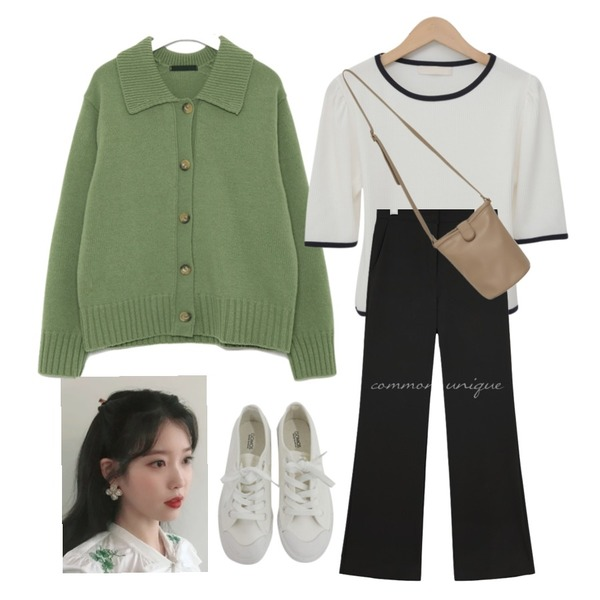 BITDA 버터링 sh (3color),AIN mellow collar button wool cardigan,From Beginning Simple button cross bag_J (size : one)등을 매치한 코디