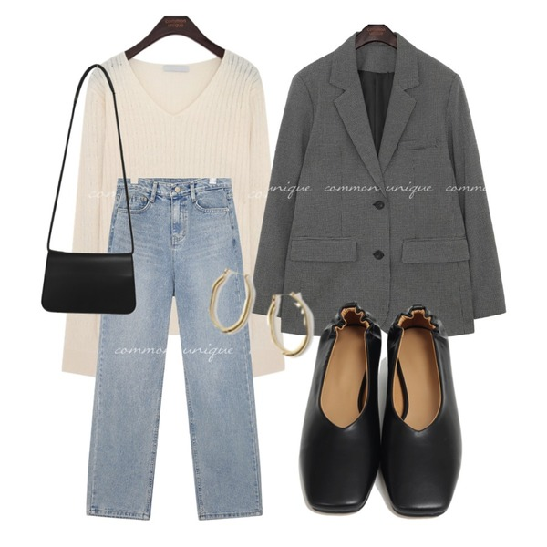 AFTERMONDAY gorgeous bold earrings,common unique LEMORE CHECK SINGLE JACKET,From Beginning Soft simple cross bag_P (size : one)등을 매치한 코디