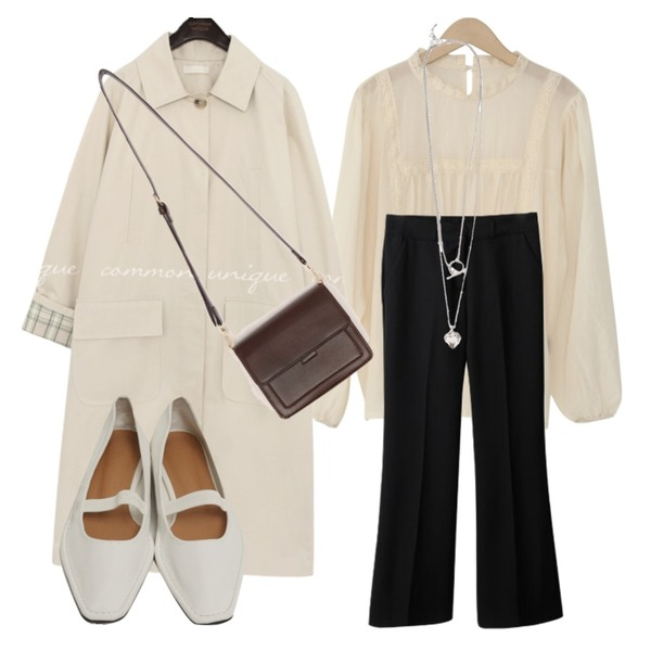 biznshoe Heart layered necklace,From Beginning Blank stitch flat shoes_A (size : 230,235,240,245,250),common unique REID CHECK POINT MAC TRENCH COAT등을 매치한 코디