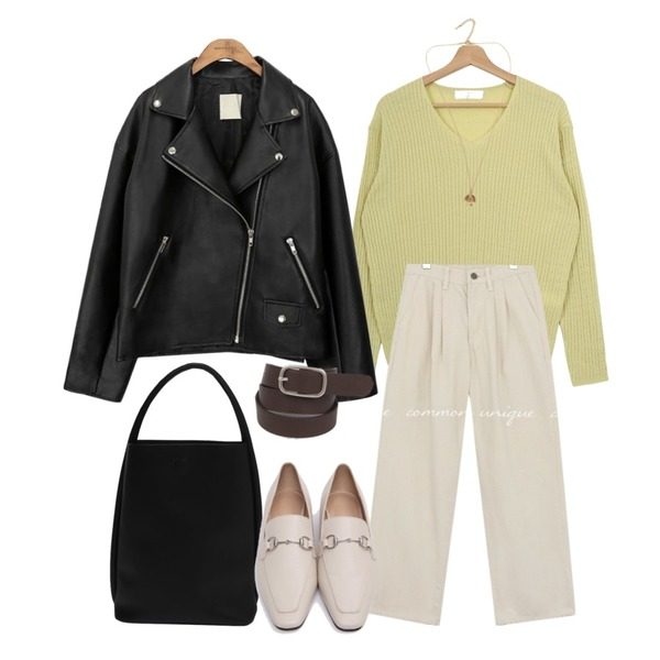 common unique BLACK PLAT RIDER JACKET,From Beginning Border soft tote bag_Y (size : one),From Beginning Minimal pendant necklace_H (size : one)등을 매치한 코디