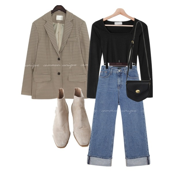 common unique RENNER ROLL UP WIDE DENIM PANTS,AFTERMONDAY wooden suede chelsea boots (2colors),From Beginning Pent mini cross bag_A (size : one)등을 매치한 코디