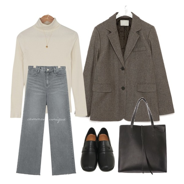 ROCOSIX stitch point totebag,BULLANG GIRL 신후라이스목폴라T,AIN mose wool napping herringbone jacket등을 매치한 코디