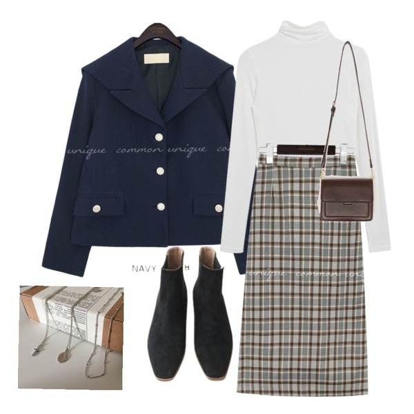 lavenir (made lavenir) twinkle necklace set,AFTERMONDAY wooden suede chelsea boots (2colors),common unique LOKONE CHECK BANDING LONG SKIRT등을 매치한 코디