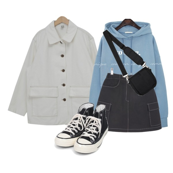 openthedoor canvas mini cross bag,AIN colouring high canvas sneakers (225-250),From Beginning Dozen collar cotton jacket (size : free)등을 매치한 코디