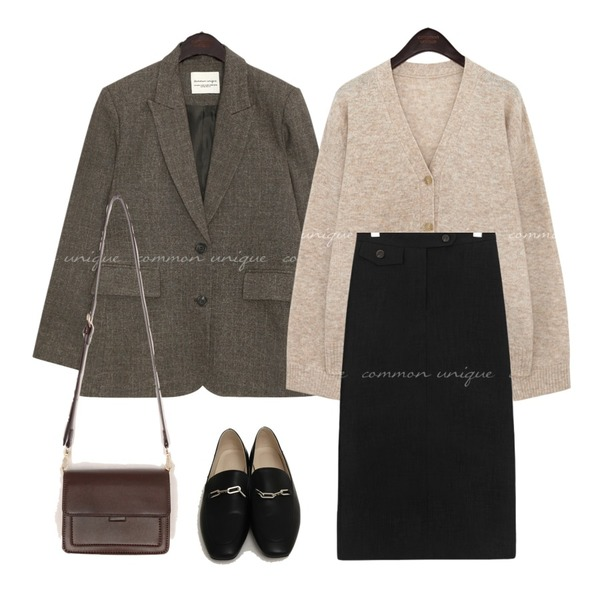 common unique SLOAT BOKASHI SET-UP SINGLE JACKET,From Beginning Chain classic flat loafer_A (size : 225,230,235,240,245,250),common unique CODY WOOL CASHMERE KNIT CARDIGAN등을 매치한 코디