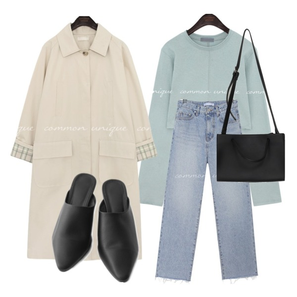 common unique CASTLE SEMI BAGGY DENIM PANTS,From Beginning Like two-way tote bag_J (size : one),AFTERMONDAY slim edge toe mule (2colors)등을 매치한 코디