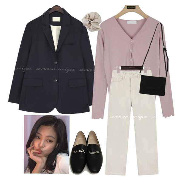 From Beginning Chain classic flat loafer_A (size : 225,230,235,240,245,250),From Beginning Marang satin hair band_C (size : one),common unique SOEN SET-UP BOXY SINGLE JACKET등을 매치한 코디