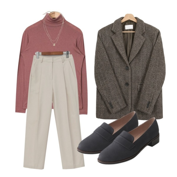 AIN tencel color high-neck polar T,From Beginning Coin layered necklace_K (size : one),AFTERMONDAY vintage matt loafer (4colors)등을 매치한 코디