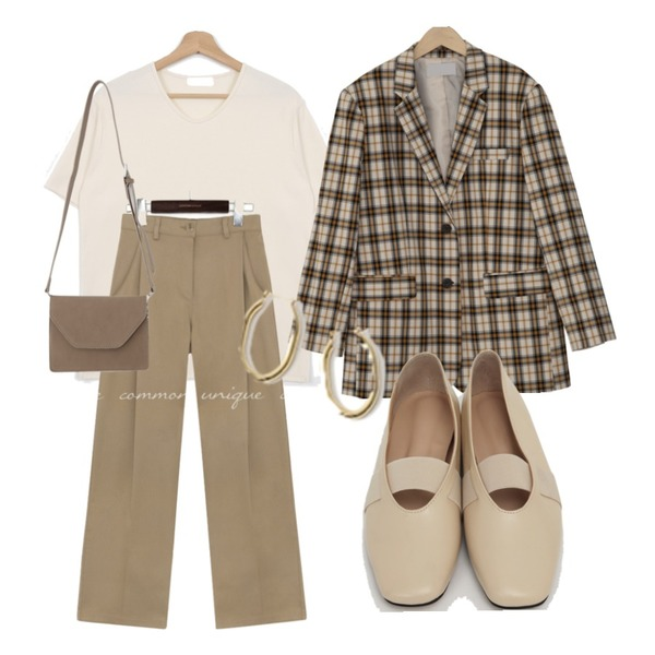 AFTERMONDAY gorgeous bold earrings,From Beginning Rod banding flat shoes_C (size : 225,230,235,240,245,250),From Beginning London basic check jacket_J (size : free)등을 매치한 코디