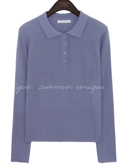 LUMING GOLGI BUTTON COLLAR KNIT