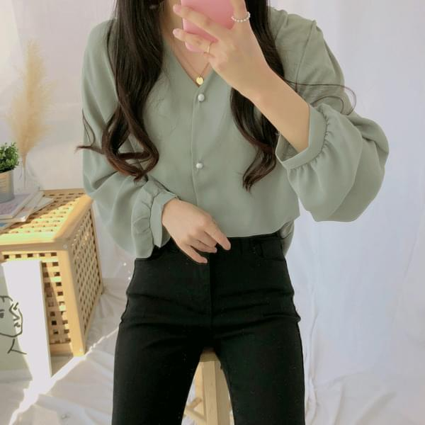 Date V Button Blouse