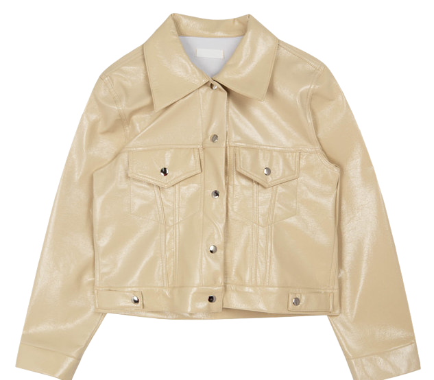 Glossy Faux Leather Jacket