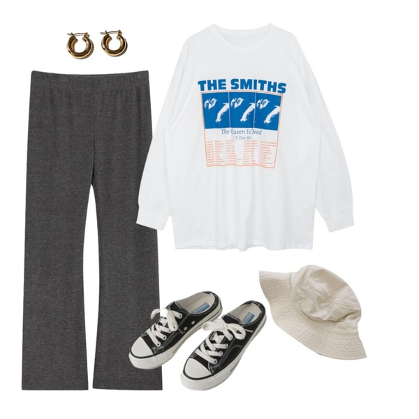 AFTERMONDAY simple mule sneakers (2colors),BITDA 정글벙거지 hat (3color),common unique BOST SIMPLE BOLD RING EARRING등을 매치한 코디