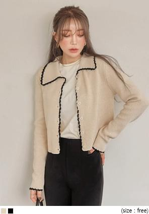 ROPI COLORING COLLAR KNIT CARDIGAN