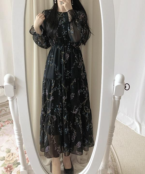 Milk Tea Floral Long Dress