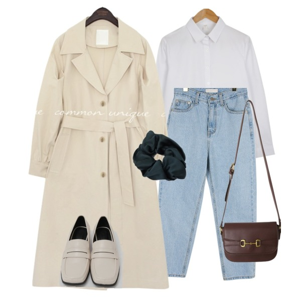 From Beginning Broad square toe loafer_C (size : 225,230,235,240,245,250),From Beginning Marang satin hair band_C (size : one),common unique MERDI PUFF TRENCH COAT등을 매치한 코디
