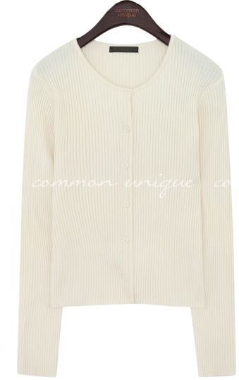 Round Neck Ribbed Knit Cardigan