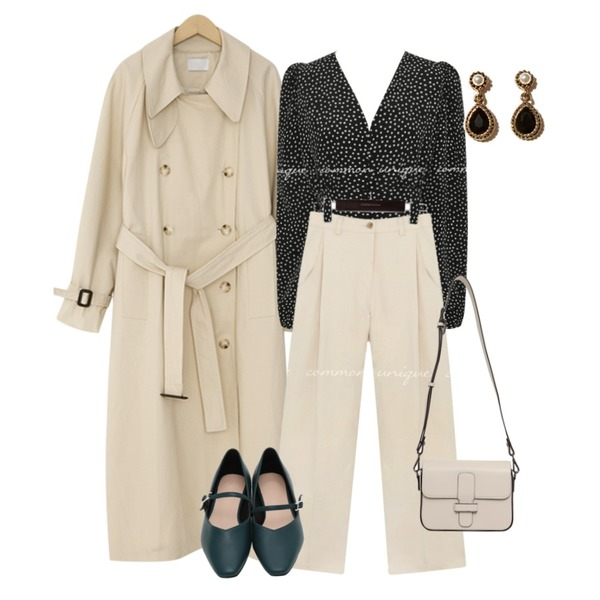 From Beginning Lou mary janes shoes_K (size : 225,230,235,240,245,250),From Beginning Able belt strap cross bag_C (size : one),From Beginning Holmes trench long coat_P (size : free)등을 매치한 코디