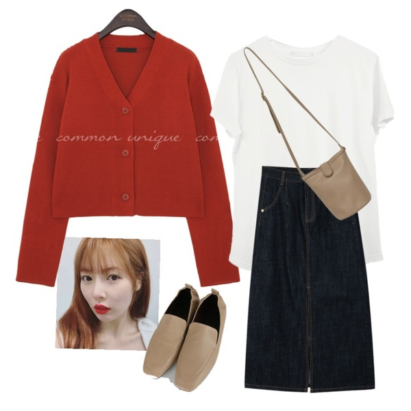 From Beginning Simple button cross bag_J (size : one),AFTERMONDAY fresh color cotton half top (7colors),common unique NEIN GOLGI V NECK KNIT CARDIGAN등을 매치한 코디