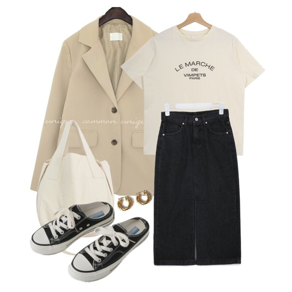AFTERMONDAY simple mule sneakers (2colors),AIN deep denim slit long skirts (s, m, l),Zemma World 'LE MARCHE' 레터링반팔티 (바이오워싱)등을 매치한 코디