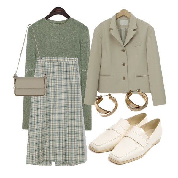 lavenir space earring,From Beginning Butter short button jacket_A (size : free),AIN selly classic line loafer (230-250)등을 매치한 코디