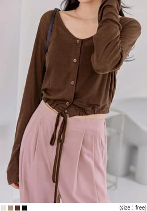 JEJE TENCEL WOOL STRING CARDIGAN