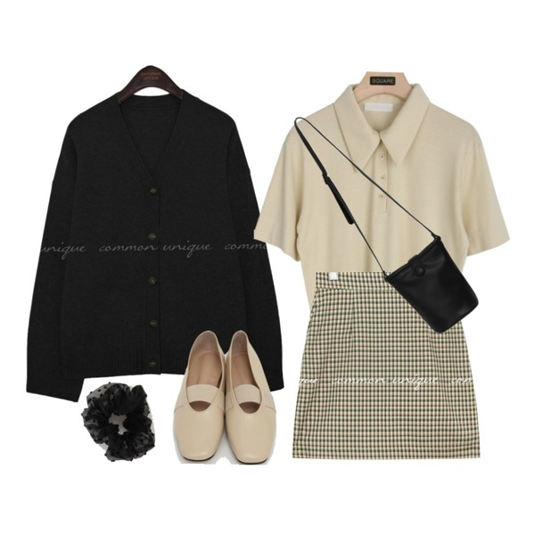 From Beginning Rod banding flat shoes_C (size : 225,230,235,240,245,250),From Beginning Simple button cross bag_J (size : one),common unique CODY WOOL CASHMERE KNIT CARDIGAN등을 매치한 코디