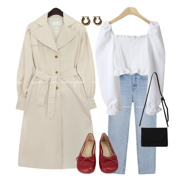 common unique REVLIN BALLOON TRENCH COAT,MIXXMIX 네모난 리본 플랫,From Beginning Brown sugar square flap bag_C (size : one)등을 매치한 코디