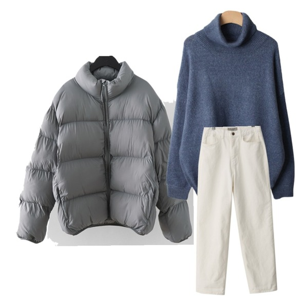 AFTERMONDAY wearable wellon padding jumper (4colors),BACHO 뷔리슨 루즈핏 폴라니트,From Beginning Scout boyfit wide pants (size : S,M,L)등을 매치한 코디