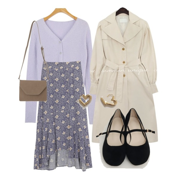 common unique REVLIN BALLOON TRENCH COAT,lavenir flory onetouch earring,From Beginning Young flat mary-jane shoes_H (size : 225,230,235,240,245,250)등을 매치한 코디