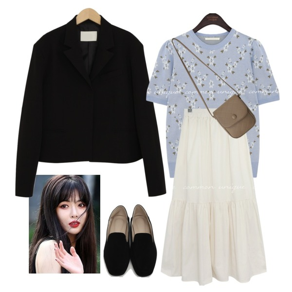 From Beginning Gram suede simple loafer_Y (size : 225,230,235,240,245,250),common unique AIDA SHIRRING BANDING LONG SKIRT,From Beginning 비커밍 크롭테일러드자켓 (3color)등을 매치한 코디