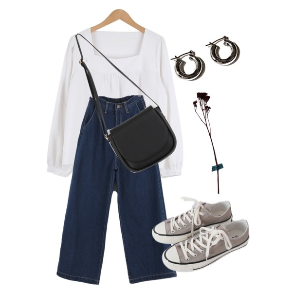 common unique BOST SIMPLE BOLD RING EARRING,AFTERMONDAY basic casual color sneakers (10colors),SOMEPLACE 딥 블루 밴딩 와이드 데님 팬츠등을 매치한 코디