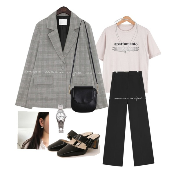 biznshoe LTP-VOO6D-7BUDF,From Beginning Coin layered necklace_K (size : one),common unique CAMELA CHECK SET-UP SINGLE JACKET등을 매치한 코디