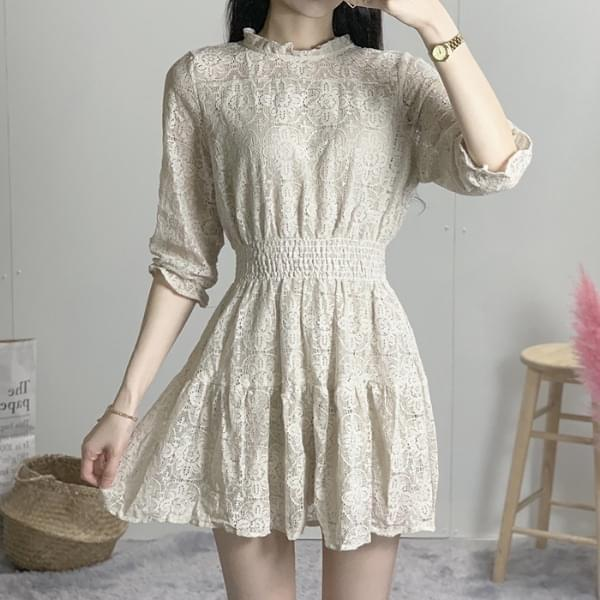 See-through smoke lace mini dress ワンピース