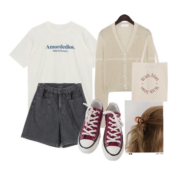 From Beginning Lettering with eco bag_C (size : one),AFTERMONDAY basic casual color sneakers (10colors),common unique FLAN TWIST HAIR CLIP등을 매치한 코디