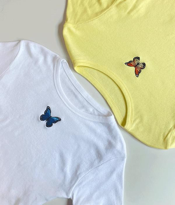 Butterfly embroidery short sleeve Short Sleeve