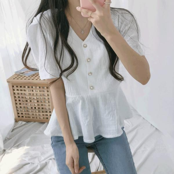 Like flare short sleeve blouse