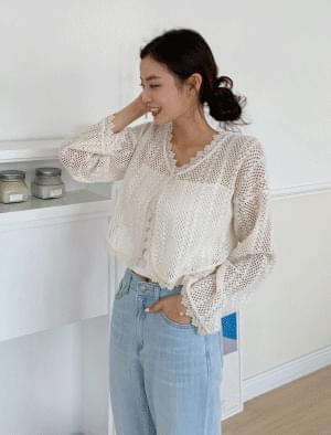 Jollyfit lace punching cropped cardigan 開襟衫