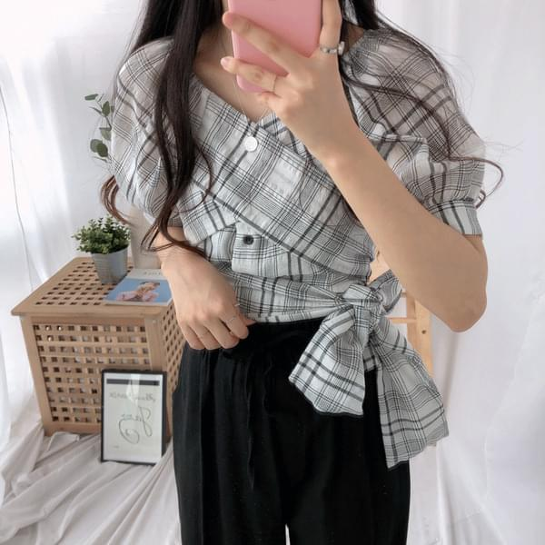 Checkwrap two-way blouse