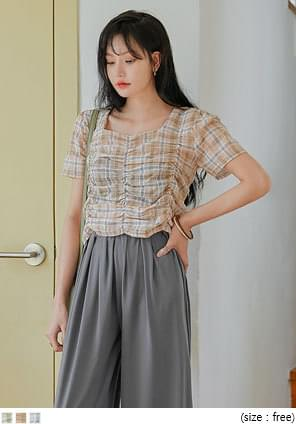 PETRA CHECK SHIRRING 1/2 BLOUSE