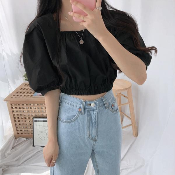 Crop Square Neck Shirring Blouse