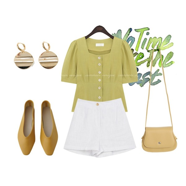 BANHARU mood oval earring,MIXXMIX Yes Linen Shorts,AFTERMONDAY colorful basic flat shoes (7colors)등을 매치한 코디